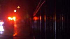 Ambulance Flashing Lights in the Rain, Harlem, New York City Stock Footage