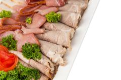 Different meat appetizer and snacks Stock Photos