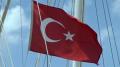 Turkish flag on the mast of the boat. - stock footage