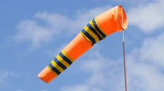Orange color windsock in airport - stock footage