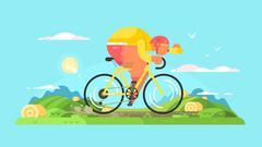 Cyclist sportsman on bike Stock Illustration