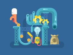 Crowdfunding design flat concept - stock illustration
