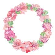 Gentle Vector Floral Wreath - stock illustration