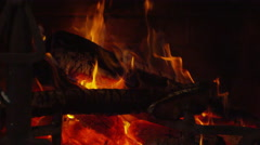 Fireplace - Slow Motion Flame - Wide Shot - 4K - stock footage