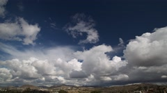 Cumulus Clouds float over Tecate, Mexico near the Mexican-US border. Stock Footage