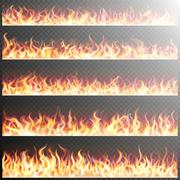 Set of realistic fire flames. EPS 10 - stock illustration