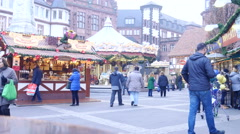 Christmas Market FrankFurt Germany - Römer square - Dec. 9 2015 Stock Footage