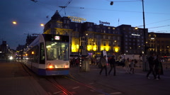 Amsterdam Central Station Tram - Evening Shot Stock Footage