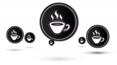 Jumping coffee icons. Looping. Stock Footage