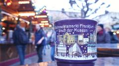 Gluehwein mulled wine at Frankfurt, Germany Christmas market - Dec. 9 2015 Stock Footage