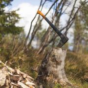 Axe stuck in tree stump Stock Photos