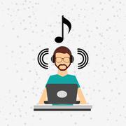 mobile audio design - stock illustration