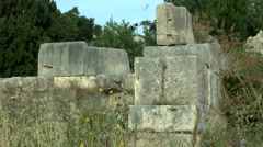 The ruins of the wall of the ancient Greek city. Stock Footage