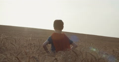 Tracking shot of a boy with a red cape in a wheat field Stock Footage