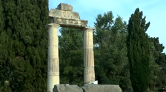Ruins of colonnade in the ancient Greek city. Stock Footage