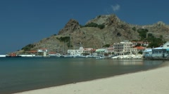 Landscape of Greek coastal town. Stock Footage