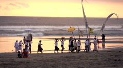 People during religious ceremony on beach in Bali, super slow motion 120fps Stock Footage
