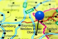 Weiden in der Oberpfalz pinned on a map of Germany Stock Photos