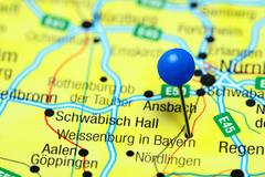 Weissenburg in Bayern pinned on a map of Germany Stock Photos