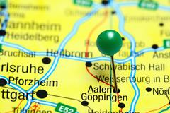 Aalen pinned on a map of Germany Stock Photos