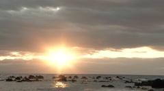 Beautiful Sun Over Ocean Horizon Stock Footage
