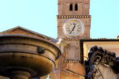 Piazza Santa Maria in Trastevere - Rome Italy - stock photo