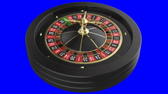 Casino Roulette Wheel isolated on blue background Stock Footage