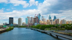 Philadelphia Center City Skyline Timelapse 4K HD Stock Footage
