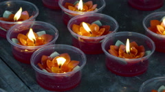 Oil lamps at China temple In Bangkok Stock Footage