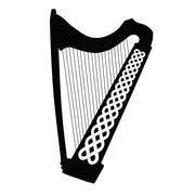 Silhouette of Celtic Harp with ornament isolated on white background Stock Illustration