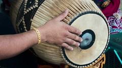 Asian man plays a drum temple, Bangkok Stock Footage
