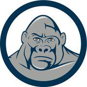 Angry Gorilla Head Circle Cartoon - stock illustration