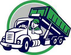Roll-Off Bin Truck Driver Thumbs Up Circle Cartoon Piirros