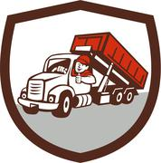 Roll-Off Bin Truck Driver Thumbs Up Shield Cartoon Piirros