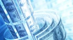 Dollars Money Banknotes Rotating Background Loop. Stock Footage