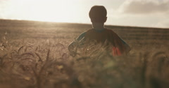 Boy looks to the horizon and rises his hands for triumph Stock Footage