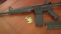 Assault Rifle AR-15 Gun Ammo Home Protection Zoom In Stock Footage
