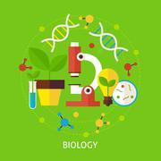 Biology Science Flat Vector Concept - stock illustration