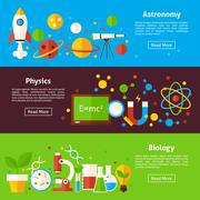 Astronomy Physics Biology Science Flat Horizontal Banners - stock illustration