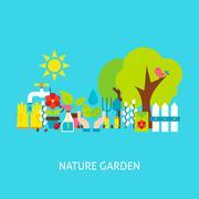 Nature Garden Vector Flat Concept Stock Illustration