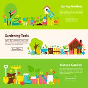 Nature and Gardening Tools Flat Horizontal Banners - stock illustration