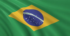 3D Brazilian Flag, Brazil Stock Footage