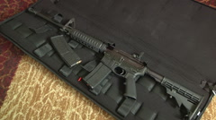 Assault Rifle AR-15 Gun In Case High Capacity Magazines Tactical Protection USA  Stock Footage