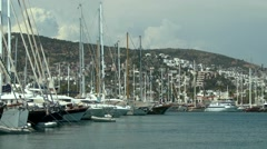 A large number of yachts in the marina. Stock Footage