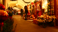 Local shops in Salzburg during Christmas Stock Footage