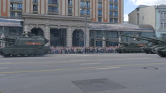 MOSCOW, RUSSIA MAY 07 2016 Military equipment moving on Tverskaya Street Stock Footage