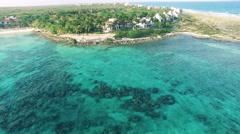 4K Aerial drone shot mexico akumal island houses Stock Footage
