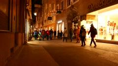 Street scene in Salzburg in December Stock Footage