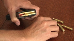 White Man Loading High Capacity Magazine Ammunition Protection 2nd Ammendment   - stock footage