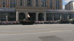 MOSCOW, RUSSIA MAY 07 2016 Military equipment moving on Tverskaya Street. Stock Footage